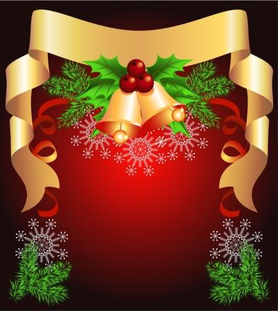 fur tree: Sfondo Natale con nastro dorato e campane
