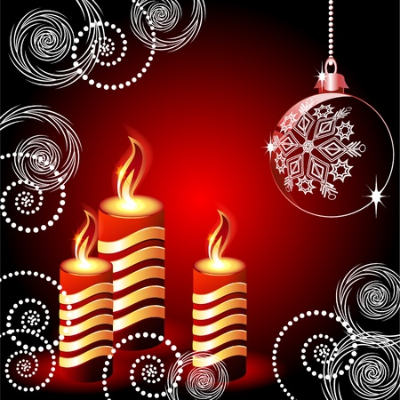 balls decorated: Christmas card with lighted candle