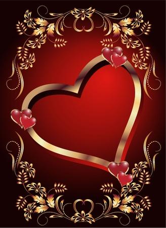 heiraten: Karte mit dekorativen Herzen