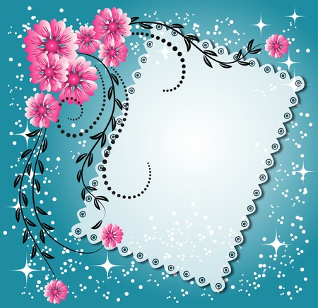photo album background: Magic floral background with stars and a place for text or photo.
