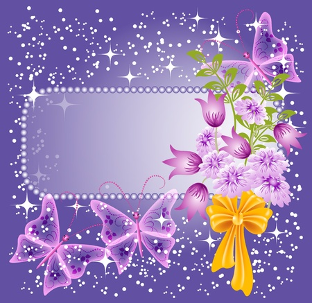 butterfly bow: Background for text or photo with flowers and butterfly Illustration