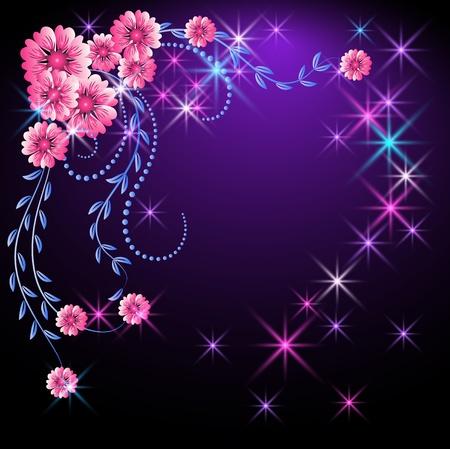 romanticismo: Sfondo incandescente con fiori e stelle Vettoriali
