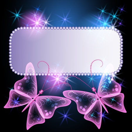Glowing background with billboard, transparent butterfly and stars  Vector