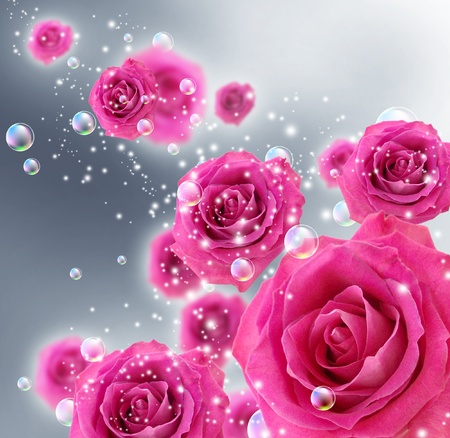 Card with roses and bubbles photo