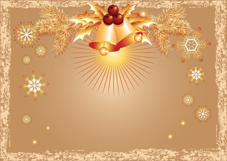 ration: Christmas background with bells and snowflakes in retro style Illustration