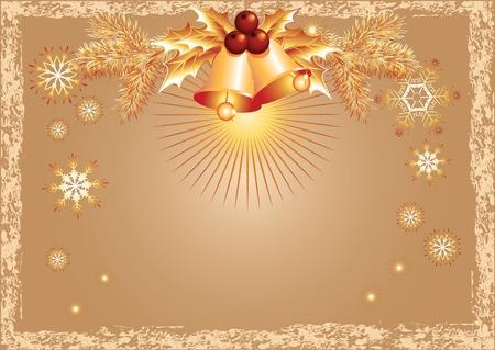 fur tree: Sfondo Natale con campane e fiocchi di neve in stile retr� Vettoriali
