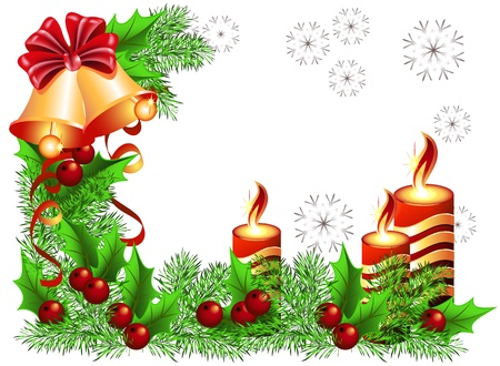 transparent brush: Christmas background with bells and candles