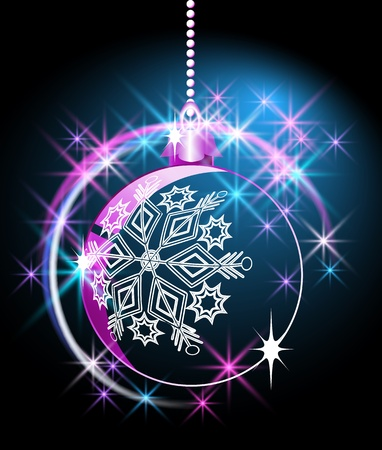 Christmas ball  with  sparkling  stars  and snowflakes Vector