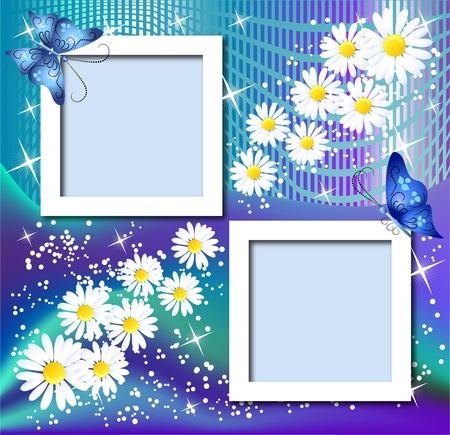 Design photo frames with flowers and butterfly Stock Vector - 10804808