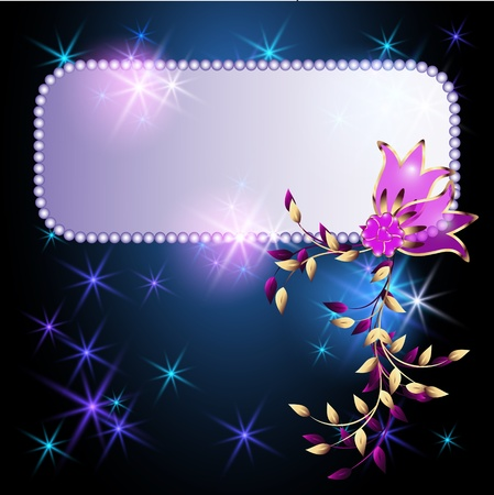 luminescence: Glowing background with billboard, transparent flowers and stars Illustration