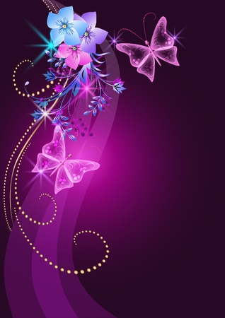 glitter glow: Glowing background with flowers, butterfly and stars