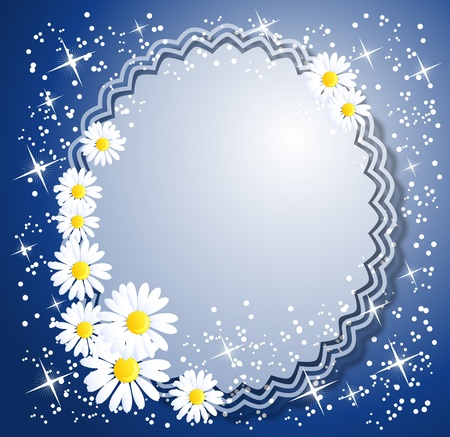 Magic background with camomiles;  and a place for text or photo. Vector