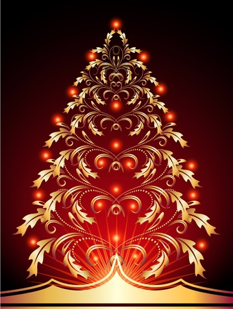 Christmas golden fur-tree with red lights Stock Vector - 10804834