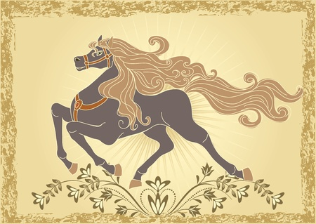 steed: Background with horse and ornament