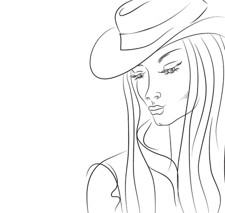 drooping: Woman in a hat with long hair and drooping eyelids Illustration