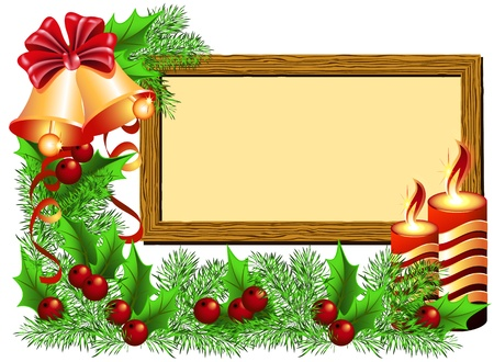 year curve: Christmas background with photo frame, bells and candles Illustration