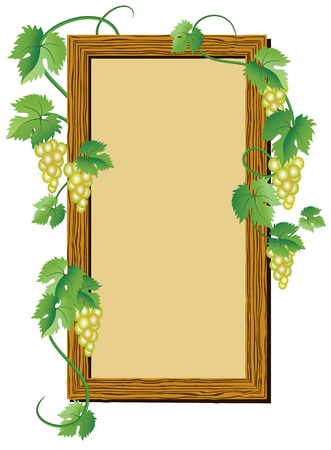 Wooden signboard with grape for text or photo Vector