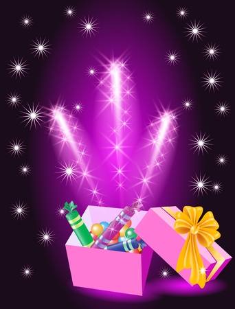 chocolate box: Christmas glowing gift box with candy and yellow bow