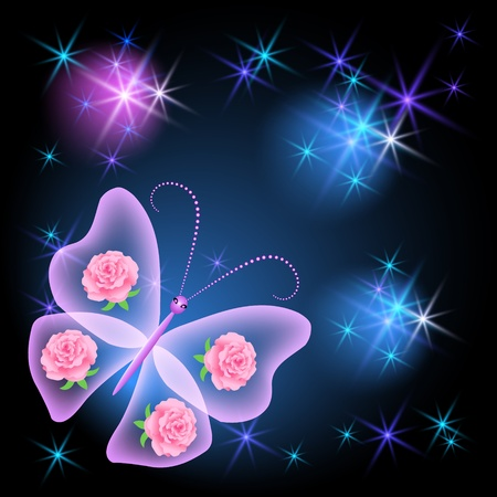 Glowing background transparent butterfly and stars
