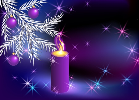 Christmas lighted candle and fir branches with balls Vector