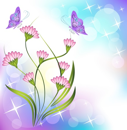 Floral background with butterfly Stock Vector - 10942683
