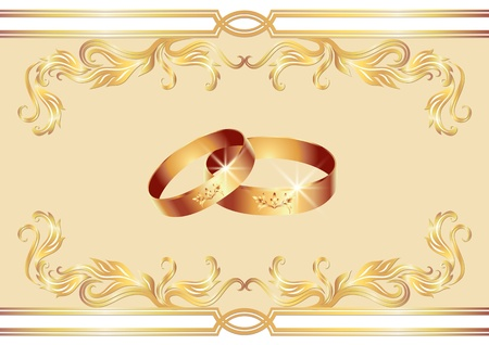 betrothal: Card with wedding ring Illustration