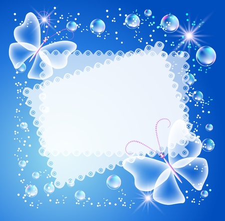 Magic background with butterfly, openwork napkin and a place for text or photo.