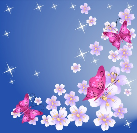 butterfly background: Floral background with butterfly and stars
