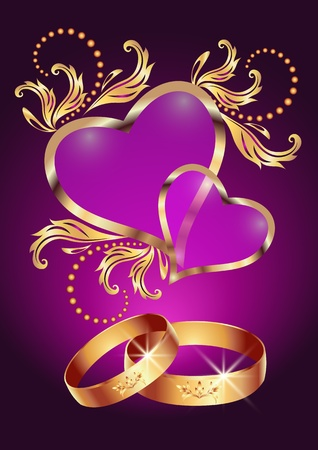 Card with wedding ring and two hearts Vector