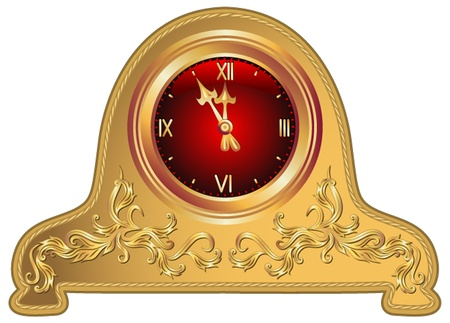Antique clock with floral ornament Stock Vector - 10942679