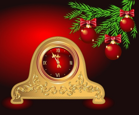 Christmas background with spruce twig and antique clock  Vector