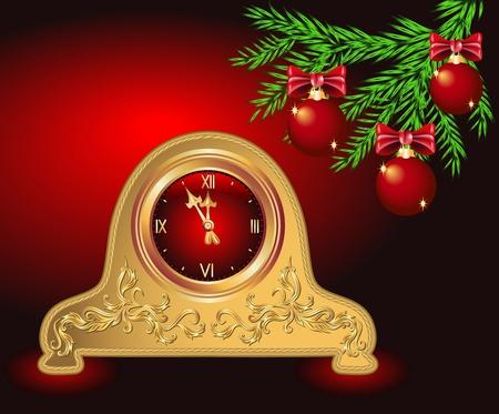 fur tree: Natale sfondo con ramoscello di abete e l'orologio d'epoca