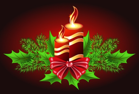 Christmas burning candle with bow and fur tree Vector