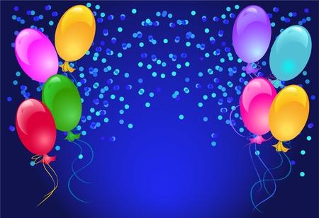 Fondo abstracto festiva con globos y confeti