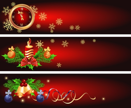 Set Christmas backgrounds with candles, bells and chimes  Vector