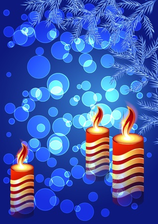 Christmas background with burning candle Vector