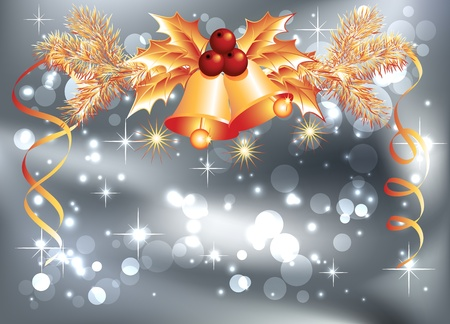 Christmas background with bells and bokeh Vector