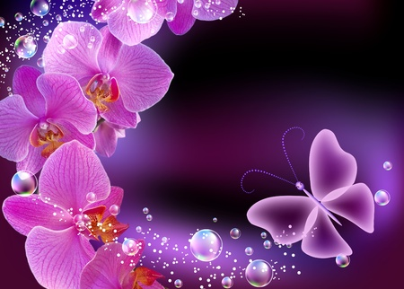 blue bubbles: Orchid, bubbles and butterfly