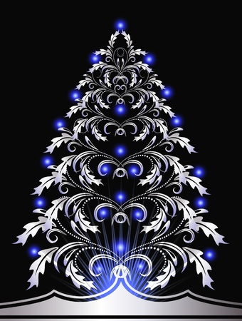 Christmas silver fur-tree with blue lights Vector