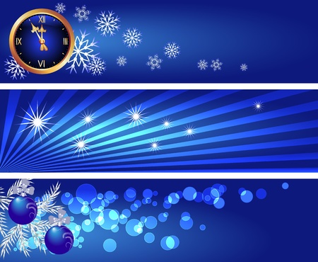 Set Christmas backgrounds with chimes, snowflakes, bokeh and silver fir branch   Vector