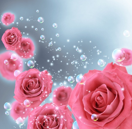 Card with roses and bubbles Stock Photo - 11087503