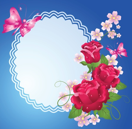 at the edge of: Background with roses, butterfly, frame and a place for text or photo.