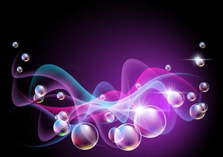 Gloeiende achtergrond met rook en bubbels Vector Illustratie