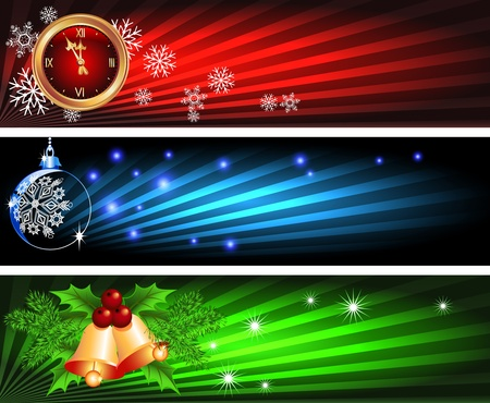 fur trees: Set Christmas backgrounds ball, bells and chimes Illustration