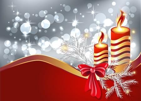 Christmas background with burning candle