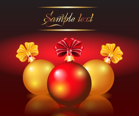 Christmas card with red and yellow balls Stock Vector - 11149045