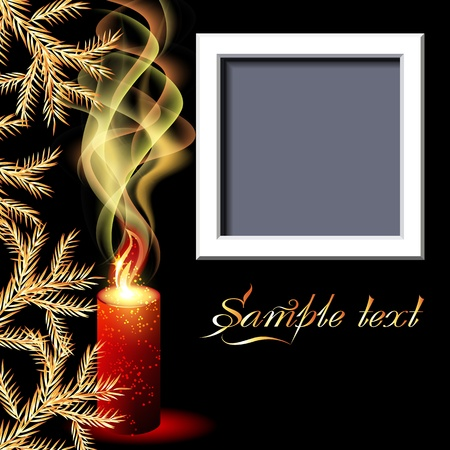 Christmas background with candles and photo frame Vector