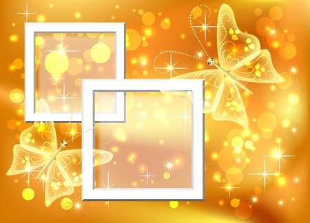 Design photo frames with bokeh and butterfly Vector