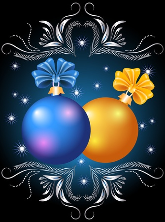 fur tree ornament: Christmas card with blue and yellow balls