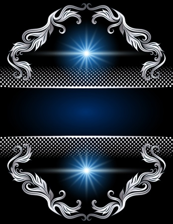 silver stars: Background with silver ornament and stars